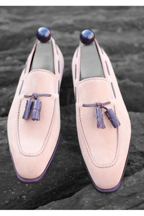 Handmade Men Pink Suede Loafers Tassels Shoes
