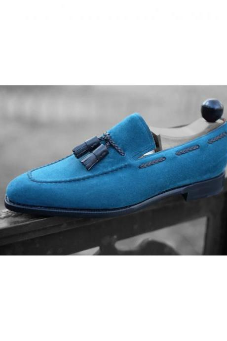 Handmade Men Blue Suede Loafers Tassels Shoes