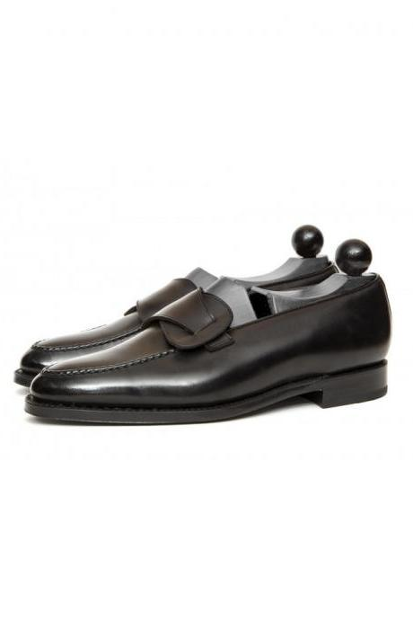 Handmade Men Black Leather Slip Ons Shoes