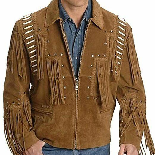 Handmade Men's Brown Western Style Suede Leather Fringed Bone Silver Small Studs Jacket