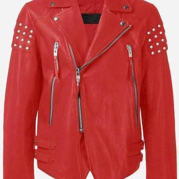 Handmade Men's Red Genuine Leather Jacket Silver Studs On Shoulders Brando Style