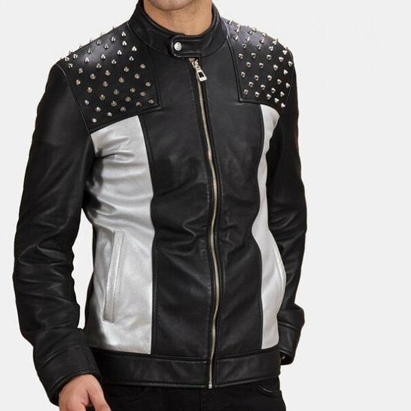 Handmade Men's Two Tone Black Gray Cont Biker Leather Tab Collar Silver Small Studs Jacket