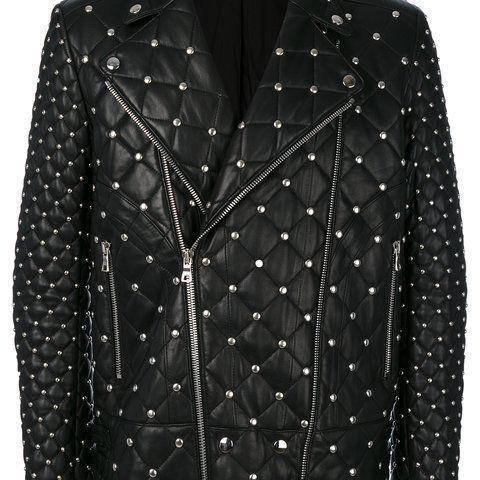 MEN'S HANDMADE FASHION FULL BLACK QUILTED AND STUDDED LEATHER JACKET SILVER STUDS